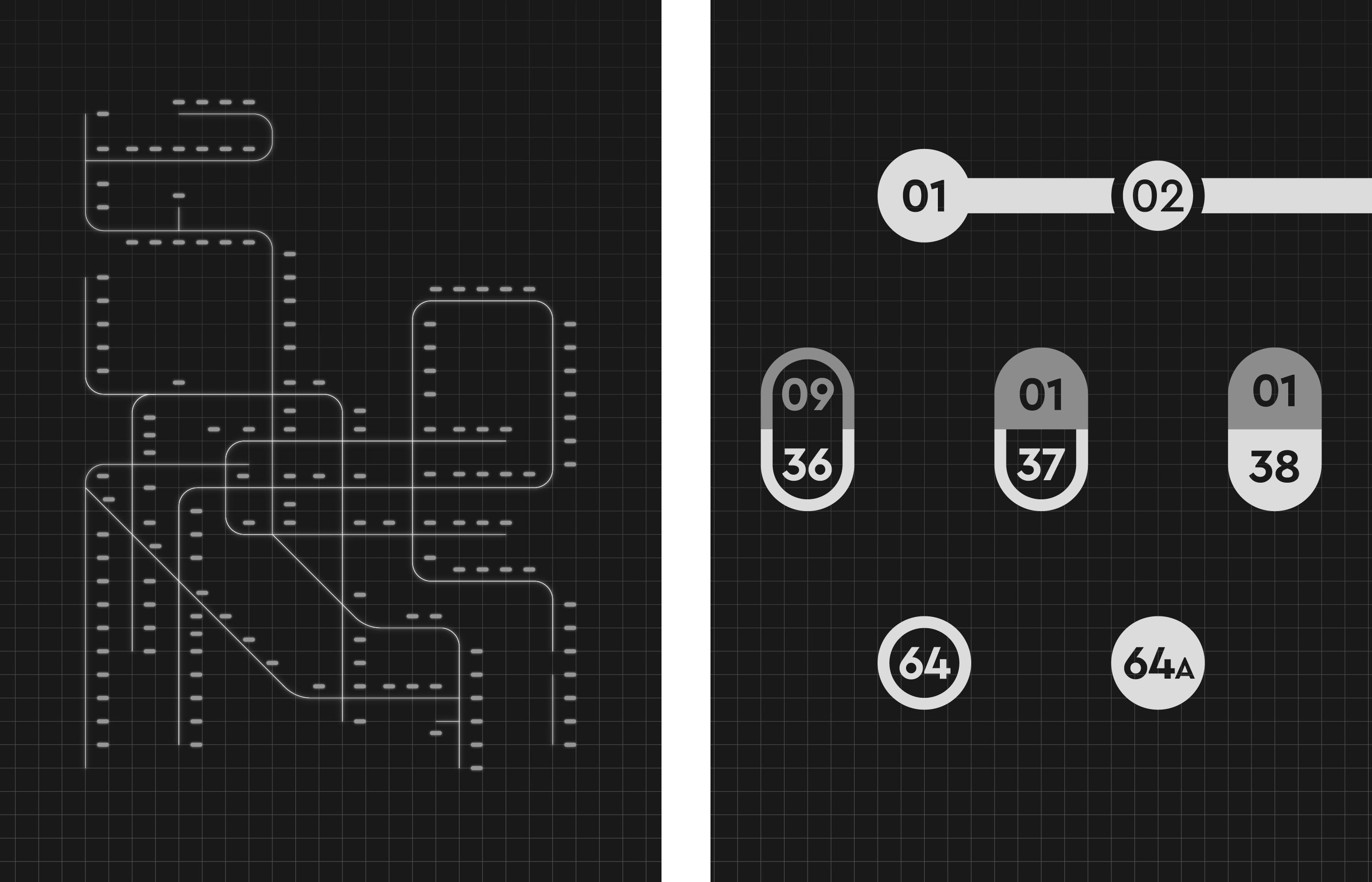 左:路線結構與文字空間 / 右:各種車站圖標