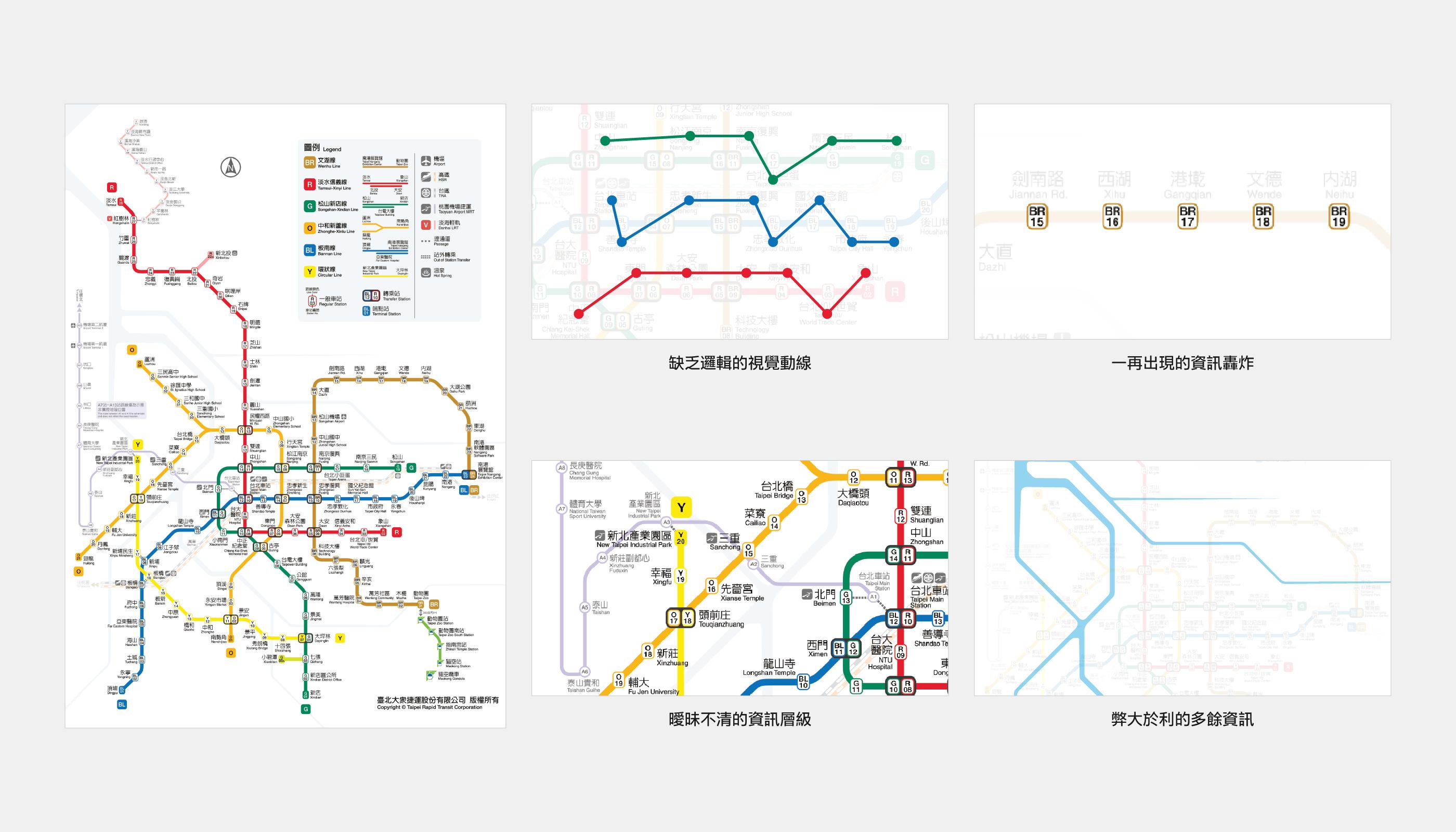 現行版本臺北捷運路線圖的缺陷
